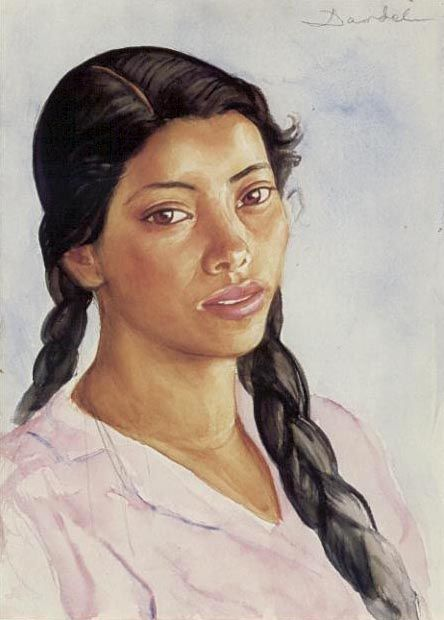 Nils Dardel (Mexican girl with braided hair), 1936