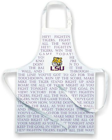 Hey Fightin' Tigers!  This awesome apron is perfect for tailgating or game day cookouts. What better way to show your team spirit than to sport this apron printed with the LSU fight song lyrics and featuring the Lousiana State University logo.