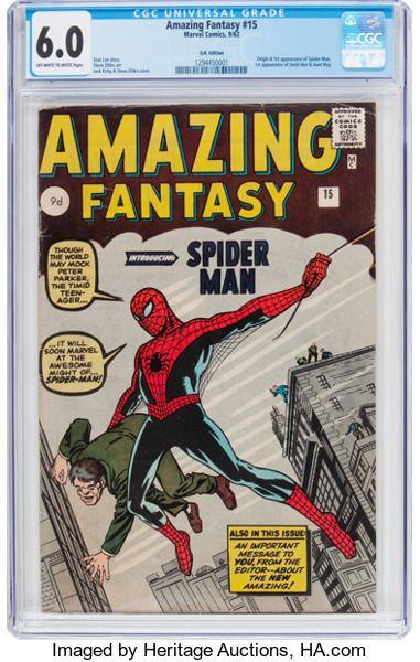 Silver Age (1956-1969):Superhero, Amazing Fantasy #15 UK Edition (Marvel, 1962) CGC FN 6.0 Off-whiteto white pages....