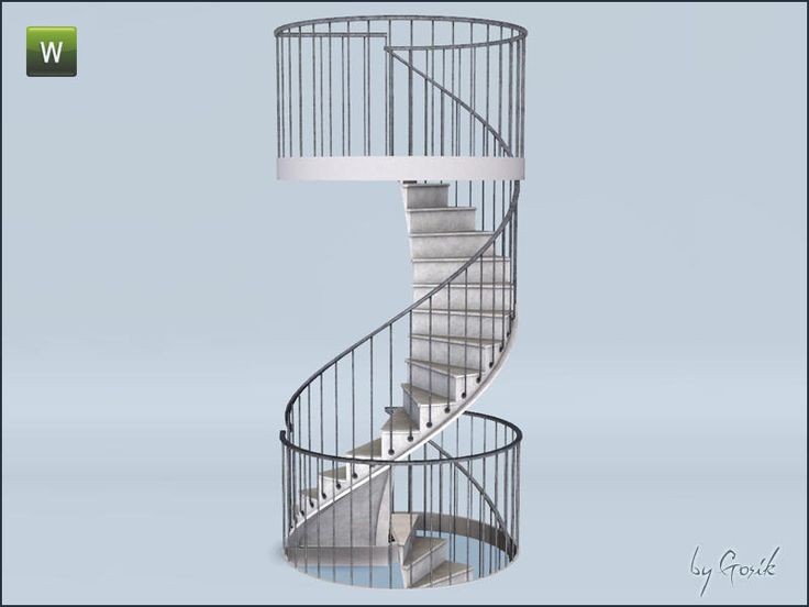 Set includes following items: spiral stairs and two different railings (use railing A if you have only one staircase, railing B will be perfect to put between two sets of stairs).  Found in TSR...