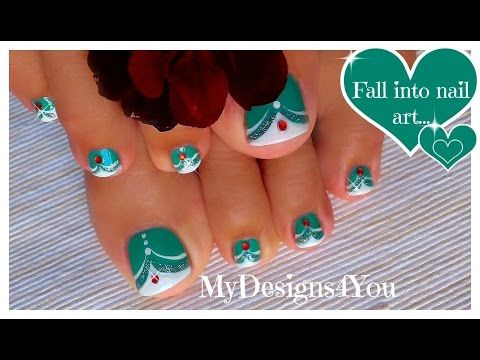 French Tip Toenail Art | Green MadamGlam Toenails ♥ Зеленый Педикюр - YouTube