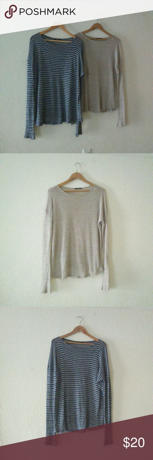 Brandy Melville Sweater Bundle Super Cute bundle of blue and cream striped and tan Brandy Melville sweaters, 55% wool but soft & light weight. Brandy Melville Sweaters