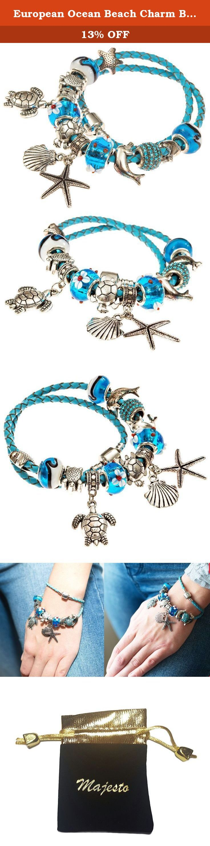 """European Ocean Beach Charm Beaded Leather Wrap 7.5 Inch for Women and Teen Girls Turtle Starfish Seashell Dolphin Dangle Charms Aquamarine Murano Glass Beads Prime Quality Gift. """"Why would I want to buy this product??"""" you might ask There are a few simple answers to that: DESIGNED TO LAST - Quality steel resists corrosion and wear. Will never tarnish! AFFORDABLE - and hassle-free, no need for polishing like 925 sterling silver ALLERGY FREE materials used: 316 Surgical Grade Stainless…"""