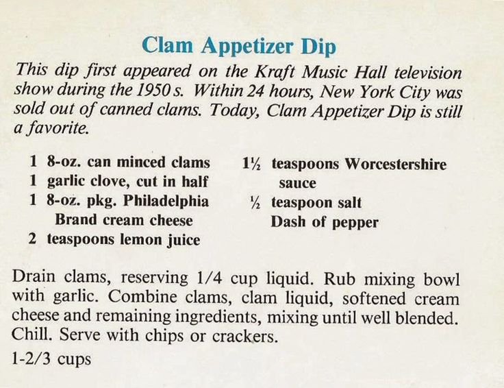 Recipes from Sadie Bells Books: Clam Appetizer Dip: Philadelphia Brand Cream Chees...