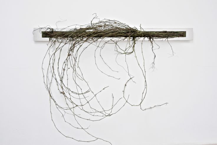 Panorama,  steel, earth, roots and branches, wood, 190x155x35 cm.