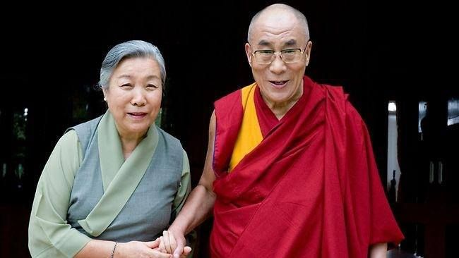 His Holiness the 14th Dalai Lama and Dalai Lama's sister, Jetsun Pema