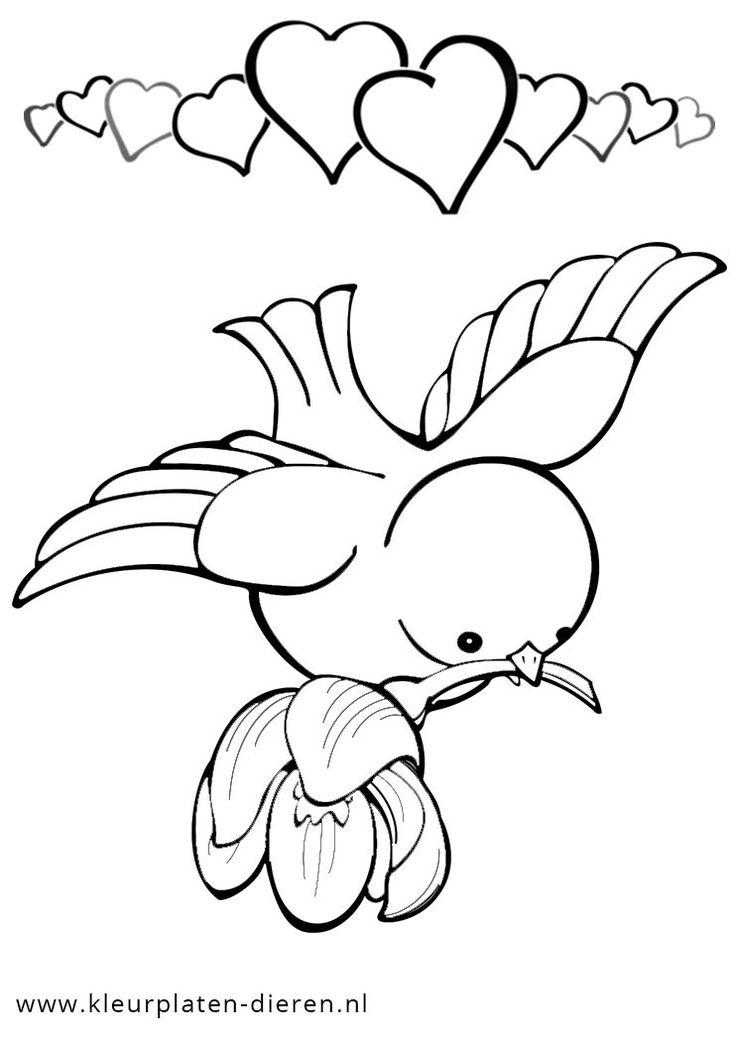 kleurplaat vogel met hartjes jpg 742 215 1050 kleurplaten
