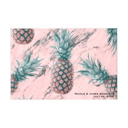 Pineapple & Pink Marble Swirl Modern Chic Wedding Guest Book - birthday diy gift present custom ideas