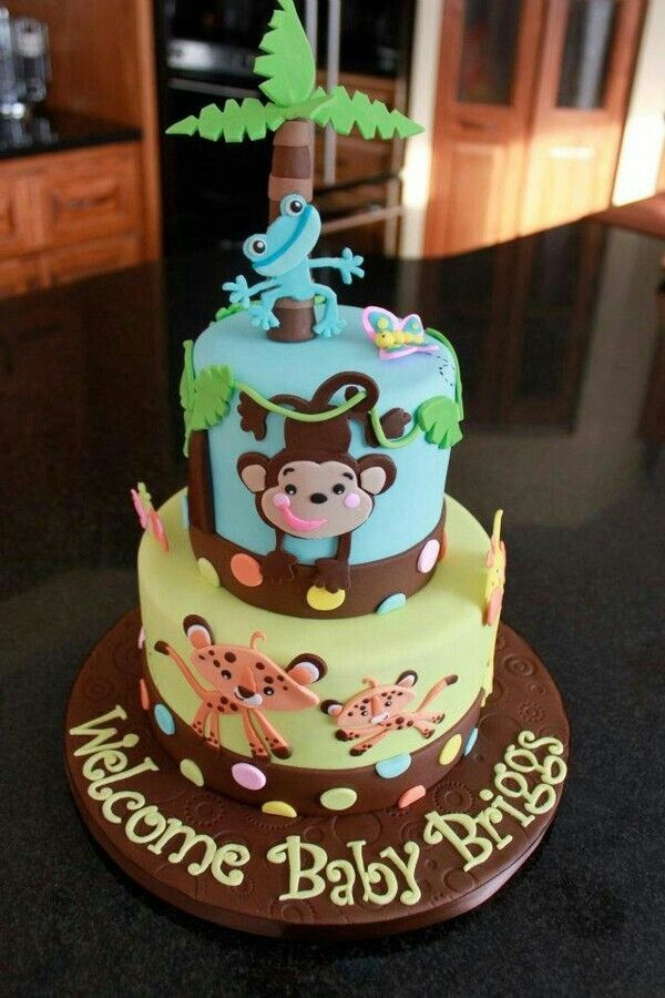 One Layer Jungle Themed Baby Cake