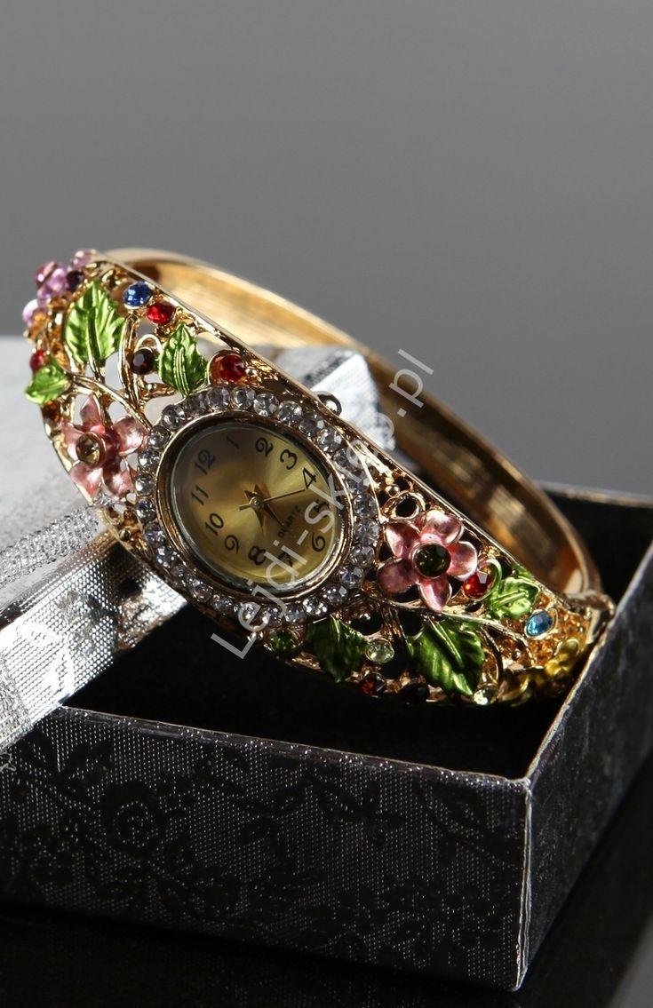 Jewelry watch with crystals. Biżuteryjny zegarek z różnokolorowymi kryształkami i cyrkoniami. www.lejdi.pl