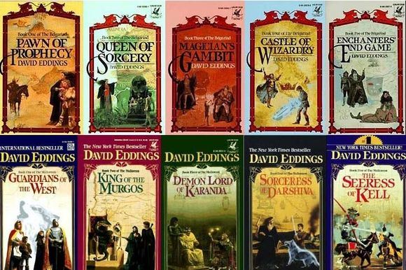 David Eddings' Belgariad and Mallorean series.   The Belgariad: Pawn of Prophecy, Queen of Sorcery, Magician's Gambit, Castle of Wizardry, Enchanters' End Game    The Mallorean: Guardians of the West, King of the Murgos, Demon Lord of Karanda, Sorceress of Darshiva, The Seeress of Kell