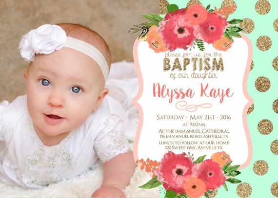 These Mint, Coral and Gold Floral LDS Baptism Invitations, or Christening are the perfect way to announce your daughters upcoming special day. I cant wait to make her Baptism Announcement amazing!   ----------------------- ♥••♥ WHAT YOU ARE PURCHASING: ♥••♥ ----------------------- lds baptism invitation - Christening announcement - printable - baptism announcement Mint and Coral Floral and gold - Digital Download (Printable file)  Matching Printable flies can be purchased through this link…