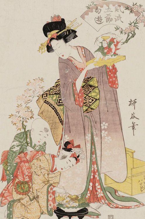 The Doll Festival. Ukiyo-e woodblock print, early 19th century, Japan, by artist Hishikawa Ryukoku