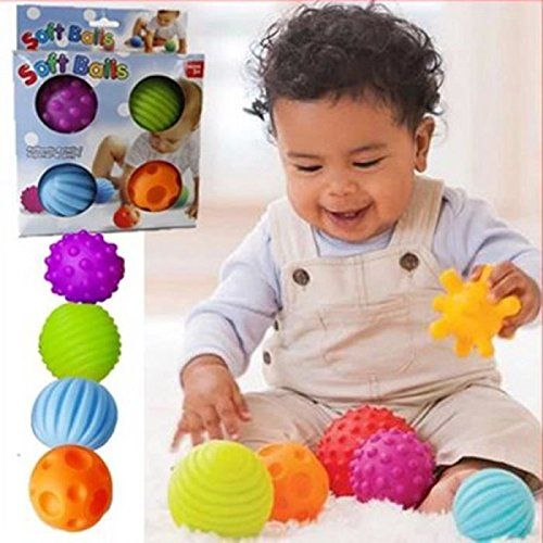 4Pcs Textured Ball Child Infant Sensory Touch  Balls for Baby Learning Grasping