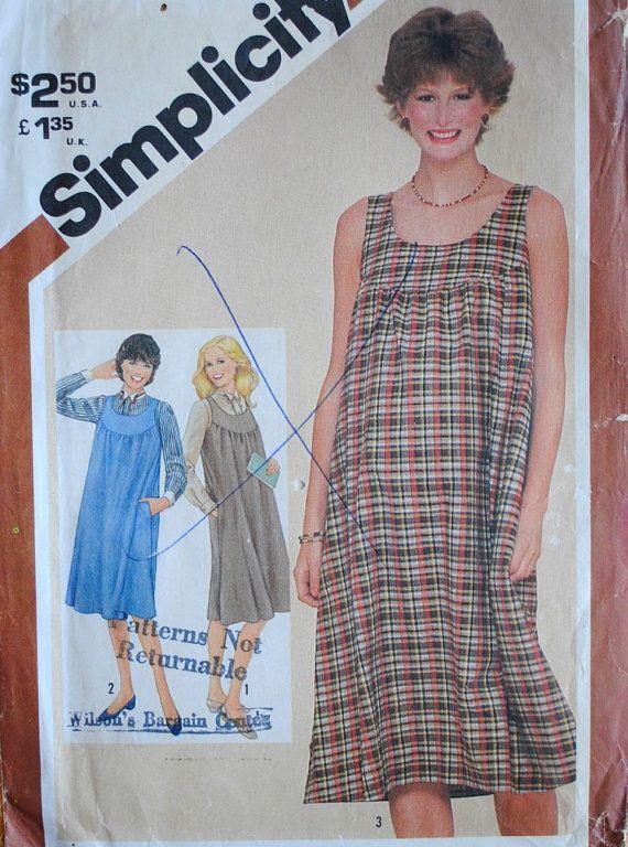Vintage 1980s Misses Maternity Yoked Scoop Neck Back Zipper Pockets Jumper  Dress & Long Sleeve Button
