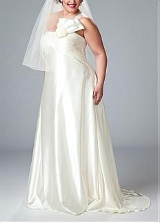 Exquisite Stretch Charmeuse Sheath One Shoulder Neckline Plus Size Wedding Dress With Handmade Flower