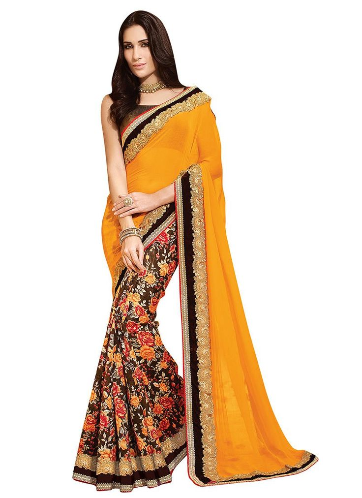 Yellow N Brown Embroidered Half N Half Saree