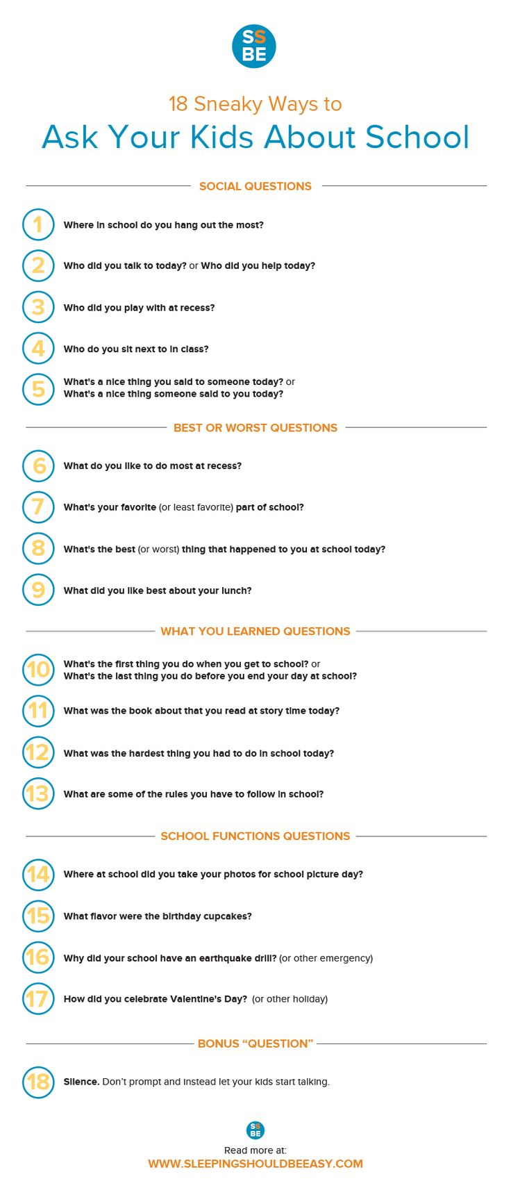 "Parents, are you met with silence when you ask your children about school? Check out these 18 sneaky ways to get your kids talking. These conversation starters will get them talking about their day other than the typical ""How was your day?"" Comes with a FREE downloadable checklist. Perfect for the first day of school!"