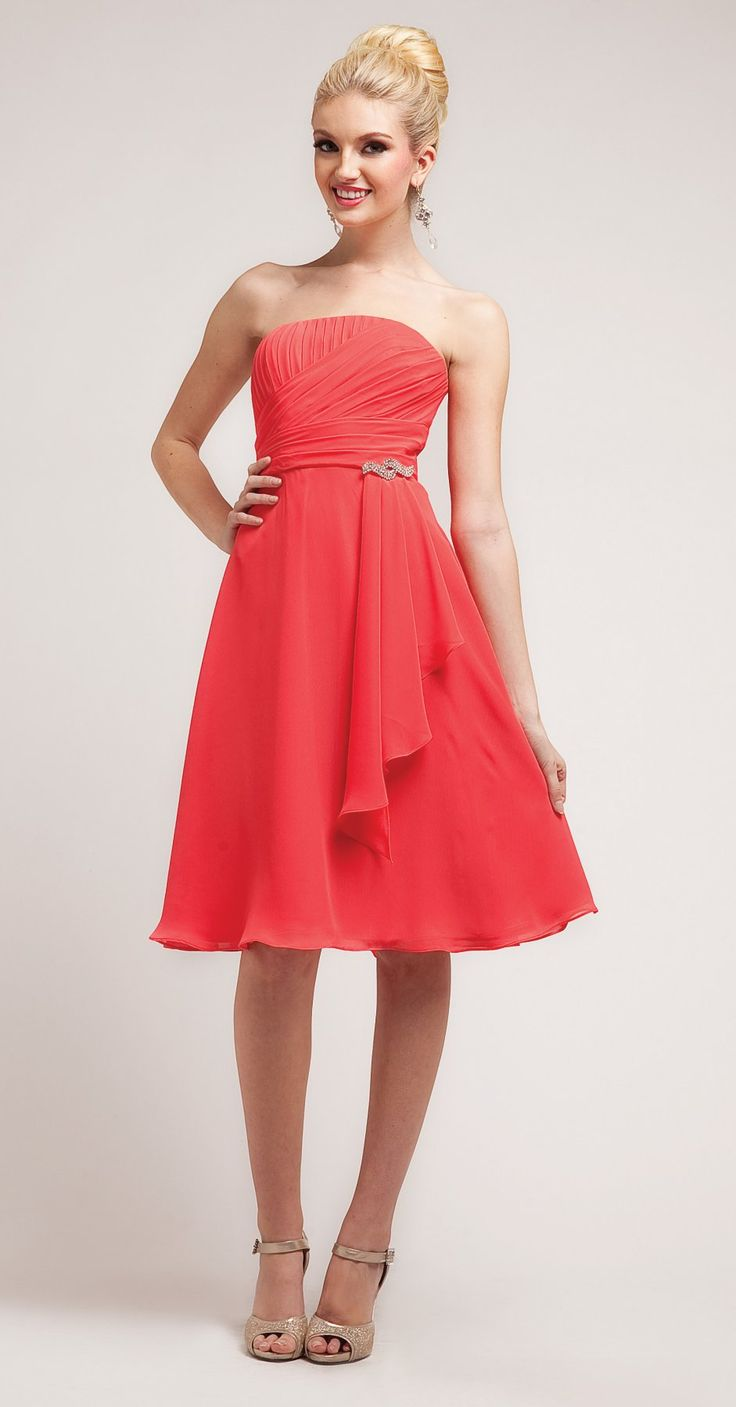 Simple A Line Knee Length Coral Bridesmaid Dress Chiffon ...