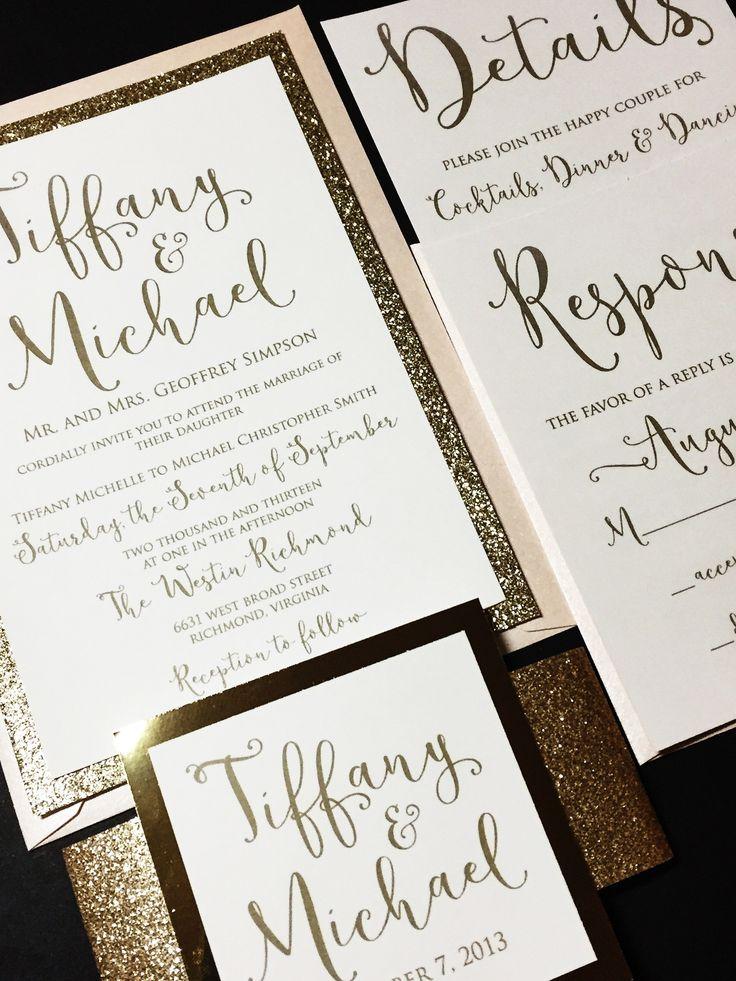 Gold Glitter Wedding Invitation, Modern Wedding Invitation, Calligraphy Wedding  Invitation   TIFFANY VERSION. Blush Wedding InvitationsGlitter CardstockGold  ...