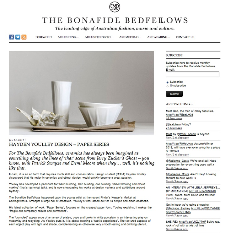 Paper Series featured on The Bonafide Bedfellows