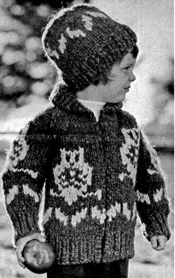 Cowichan Childs Owl Sweater & Toque Knitting by KilbellaVintage, $3.75