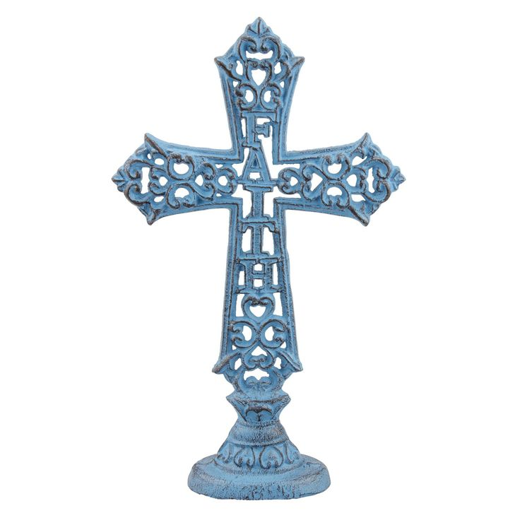 Stonebriar Collection Worn Blue Jem Turquoise Cast Iron Faith Cross Pedestal - SB-5789A