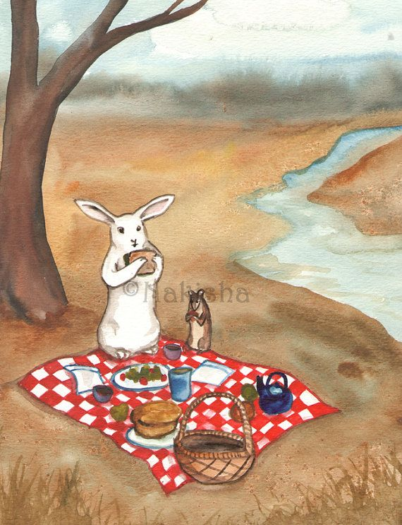 Original Watercolor Rabbit Painting - The Picnic