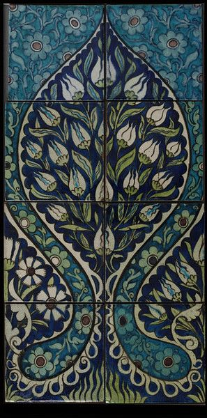 Tile panel designed by William De Morgan and made by Josiah Wedgwood and Sons ca.1882. Commissioned by P Liners that De Morgan worked on between 1882 and 1900