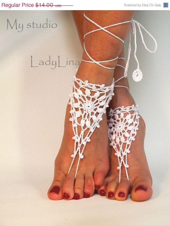 ON SALE White Barefoot Sandles Crochet Nude shoes by LadyAlinaShop