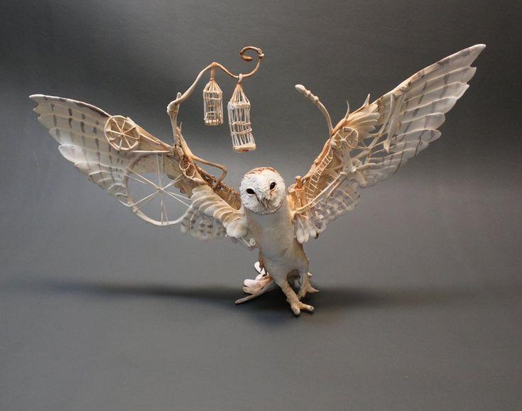 Barn Owl with Mechanics by creaturesfromel.deviantart.com on @deviantART