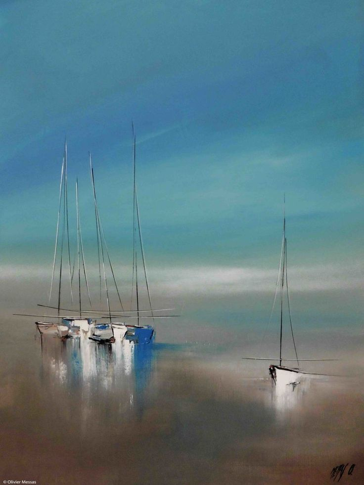 Le temps suspendu... - Painting, 80x2x60 cm ©2015 by Olivier Messas - Contemporary painting, Canvas, Boat, Sailboat, voile, voilier, bateau, segel, sail, sailing, mer, sea, see, blue