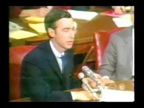 I watched Mr. Rogers everyday growing up as a kid. And he is so unbelievably eloquent in his defense of PBS to the Senate here.