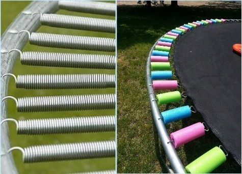 This is so clever if your trampoline spring cover is ruined. - also great for safety while the kids are jumping!