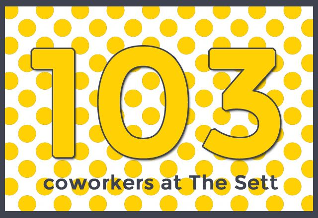 103 coworkers at the sett http://thesettonline.blogspot.com/2014/04/1-year-of-sett.html