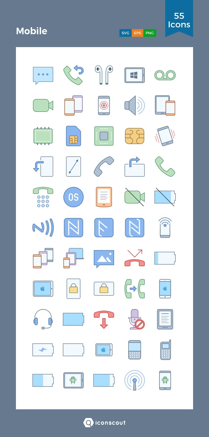 Mobile  Icon Pack - 55 Filled Outline Icons