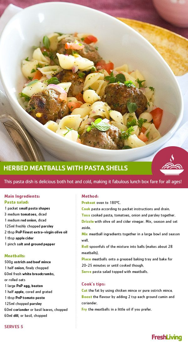 With #PnP no name products, there's no need to shell out more. Feast for less with Herbed meatballs and #pasta shells, #dailydish #picknpay #freshliving