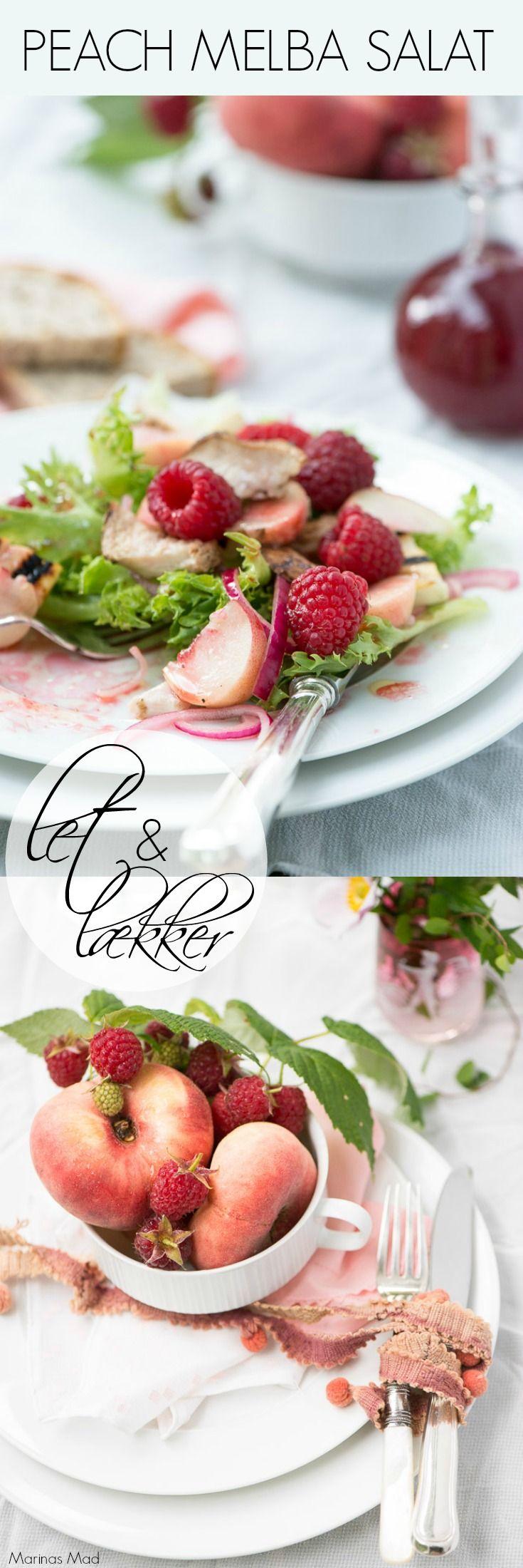 Lækker salat med solmodne ferskerner og friske hindbær. Måltids salat med kylling og grillet ost kan servers som let aftensmad, men salaten er også skøn i enkel version som tilbehør. Opskrift fra Marinas Mad: Årstidens opskrifter
