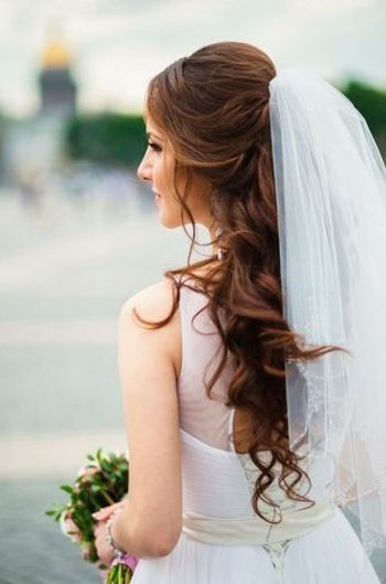 This is exactly what I want for my wedding day hairstyle. Natural curls and a half up style to hold the veil. Love this.