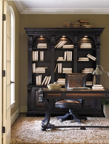 shop for hooker furniture telluride bookcase hutch and other home office bookcases furniture tellurides black paint finish with heavy reddish brown - Hooker Furniture Home Office