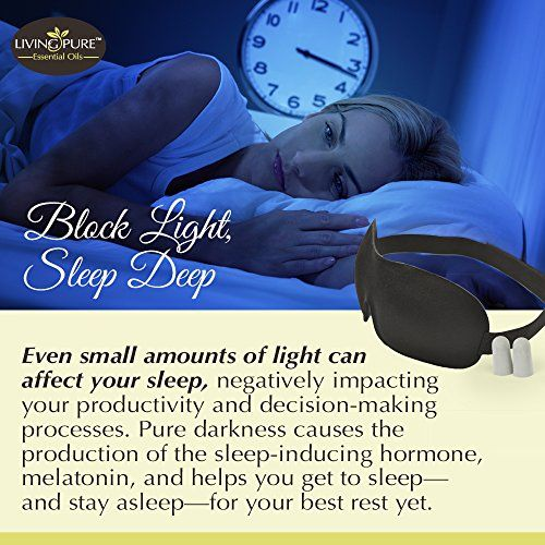 Luxury Sleep Mask with Ear Plugs   Light Blocking Eye Mask for Sleeping Deeper   Features Memory Foam, Contoured Design, Adjustable Strap & Ear Plugs   Insomnia Aid