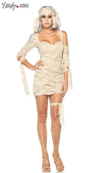 Egyptian Mummy Costume - The two-piece, Egyptian Mummy costume includes a gauze dress with a matching gauze wrap.