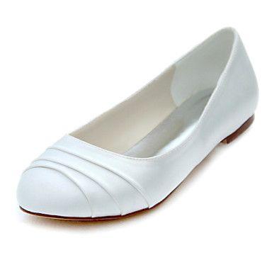 Women's+Flats+Spring+/+Summer+/+Fall+Others+Stretch+Satin+Wedding+/++Dress+Flat+Heel+Ruffles+Ivory+Others+–+USD+$+34.19