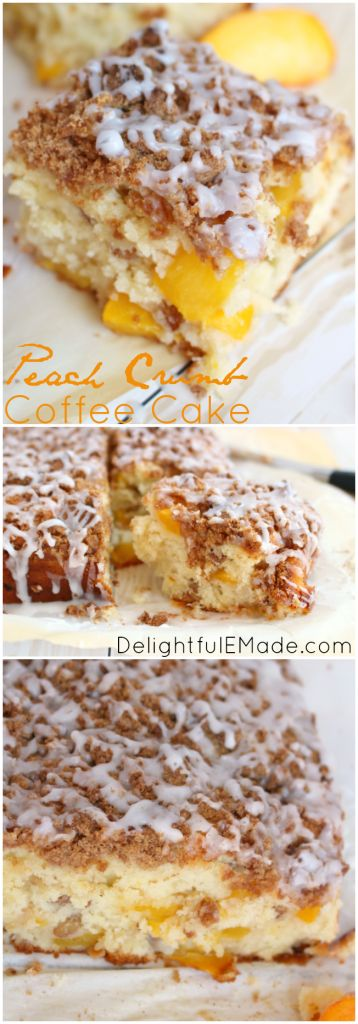 Peaches, pecans and and delicious crumb topping come together in this amazingly moist, delicious coffee cake!  Perfect for a morning treat, or an afternoon snack, this cake will be one of your absolute favorites!