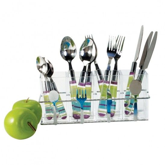 Cutlery holder clear ps & chrome