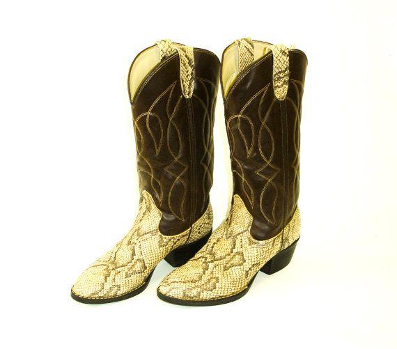Snakeskin Western Boots for Men | Snakeskin Cowboy Boots Mens Faux Snake Skin & Faux Leather Western ...