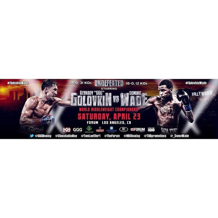 It's official Saturday April 23 Gennady Golovkin takes on undefeated Contender Dominic Wade at the Forum in Los Angeles CA. #boxing #boxeo #GolovkinWade #fight #cali #california #sports #fighter #fit #ggg #middleweight #hboboxing #instagood #media #frontproof #likes #l4l #f4f #followback