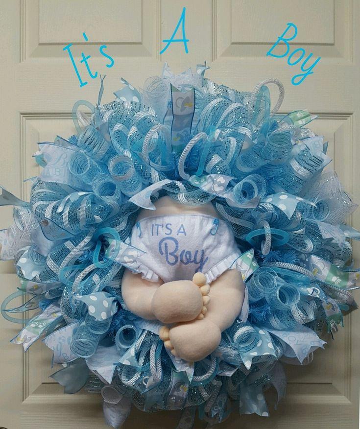 Baby Boy Wreath,Baby Boy Birth Announcement Wreath,Nursery Wreath,Gift for Mom…