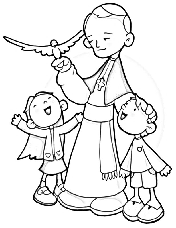bl pope john paul ii catholic coloring page feast day is october 22nd
