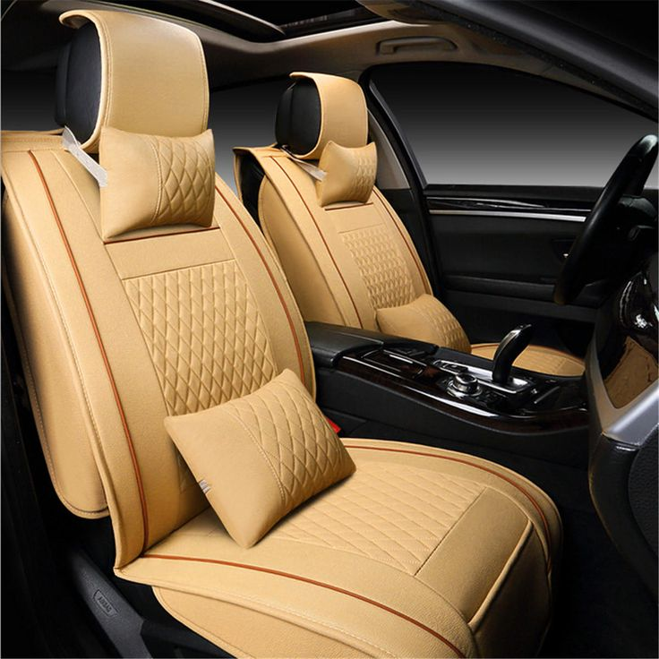 PU Leather 5 Seats Car Seat Cover Cushion PU Leather 5-Seats Front Rear Lumbar Pillow Headrest